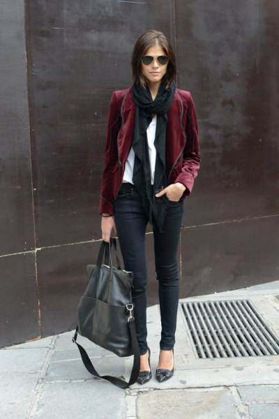 Burgundy blazer with white blouse and black scarf