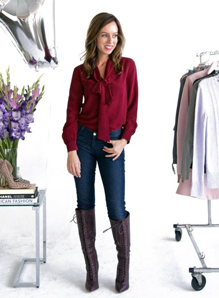 Burgundy bow tie blouse with knee high brown leather boots