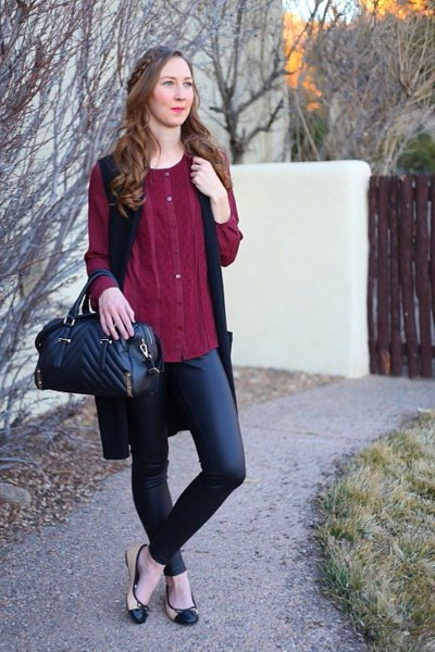 Burgundy buttonable elegant tunic blouse with black leather pants