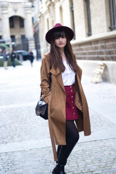 Trench coat with a burgundy skirt
