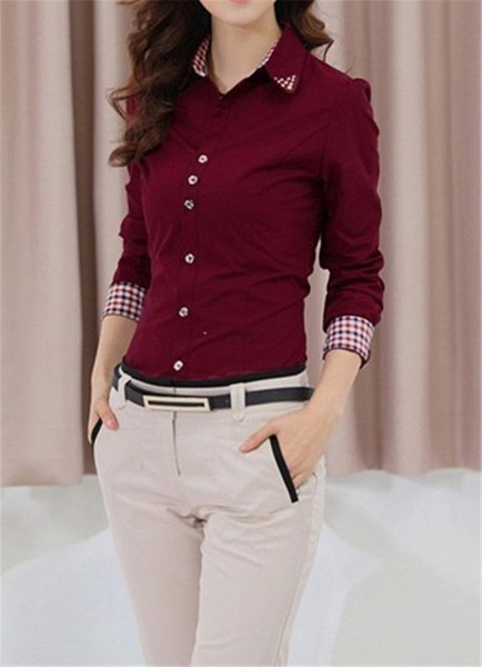 Burgundy button-up slim fit shirt with light gray slim fit chinos