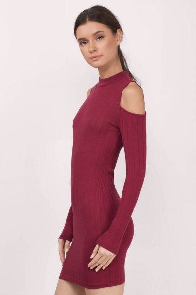 burgundy cold shoulder mock neck mini dress