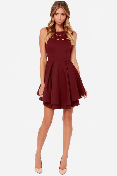 burgundy ruffled cocktail dress with neckline