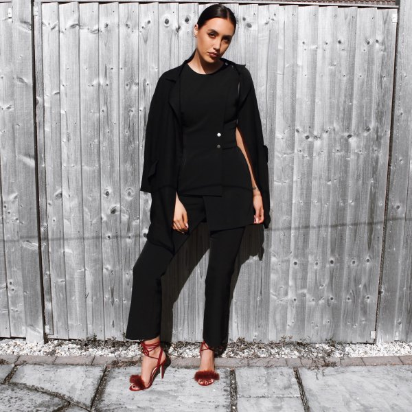 burgundy fluffy heels all black outfit