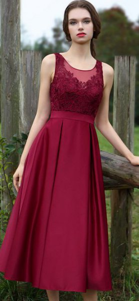 Burgundy ruched lace and silk dress