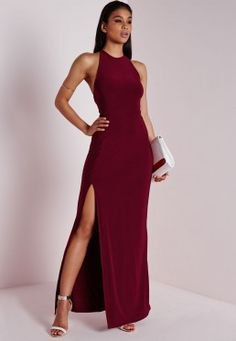 Burgundy Halter High Split Maxi Cocktail Dress