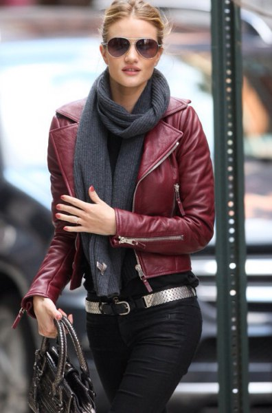 burgundy leather jacket with gray scarf and black jeans