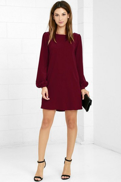 burgundy long-sleeved shift dress