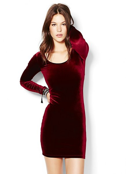 burgundy long-sleeved velvet dress