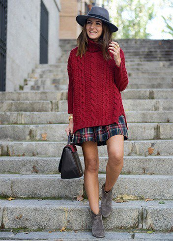 Burgundy navy oversized cable knit sweater and red plaid skirt