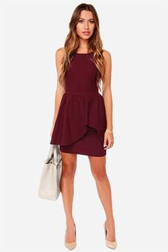 burgundy peplum ruffle pencil dress