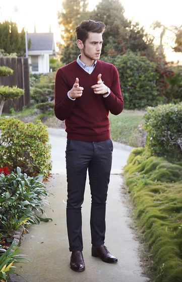 burgundy polo outfit men - Buscar con Google | Sweater outfits men .