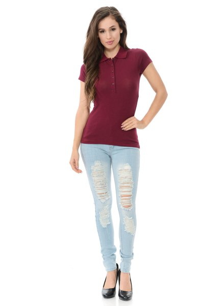 Burgundy slim fit polo shirt with light blue skinny jeans