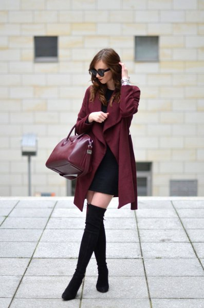 Burgundy trench coat with a black mini shift dress