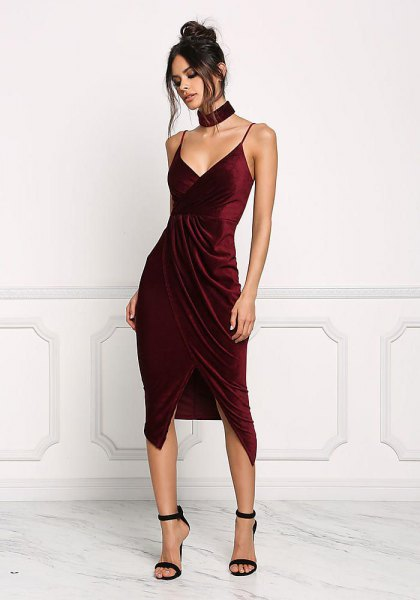 Burgundy Velvet High Low Wrap Cocktail Dress