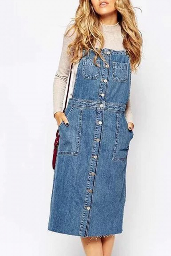 Denim skirt with button front