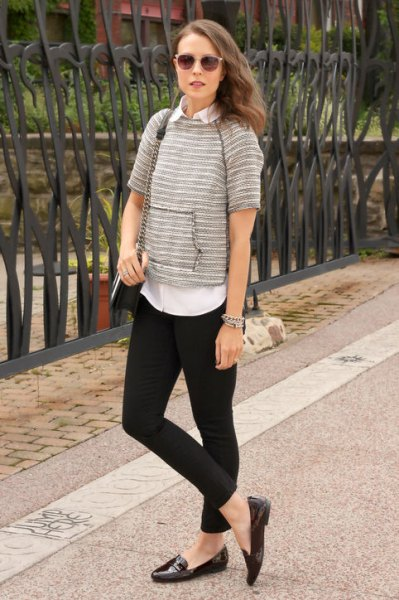 Button-up shirt black leggings loafers