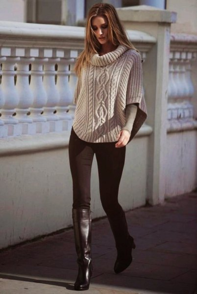 Cable knit cape sweater with boots