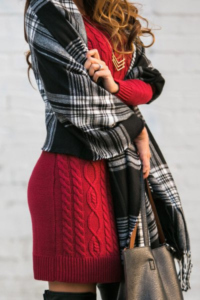 Cable knit dress with black and gray blanket scarf