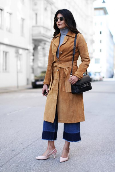 Midiranger suede coat with camel belt and blue turtleneck sweater