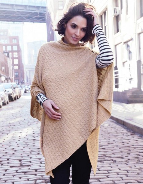 Cable knit camel scarf with black and white striped long-sleeved T-shirt