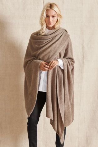 white shirt with camel cashmere wrap