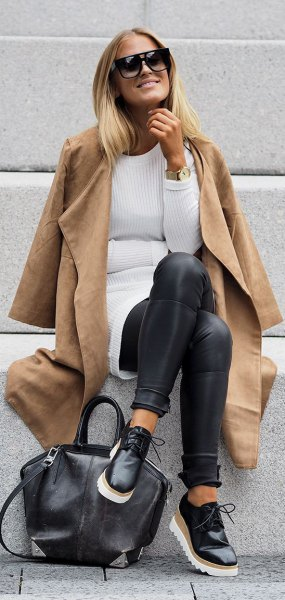 Camel faux leather long coat with ribbed tunic sweater and leggings