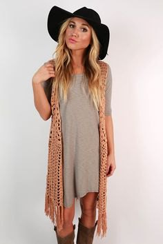 gray airy t-shirt dress with camel fringe vest