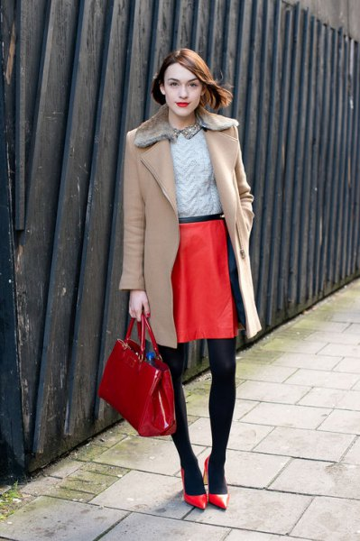 Wool coat outfit with camel fur collar