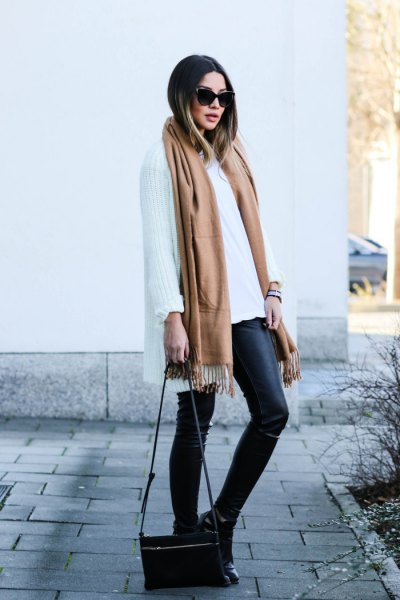 Camel long scarf with white oversized scarf and leather gaiters