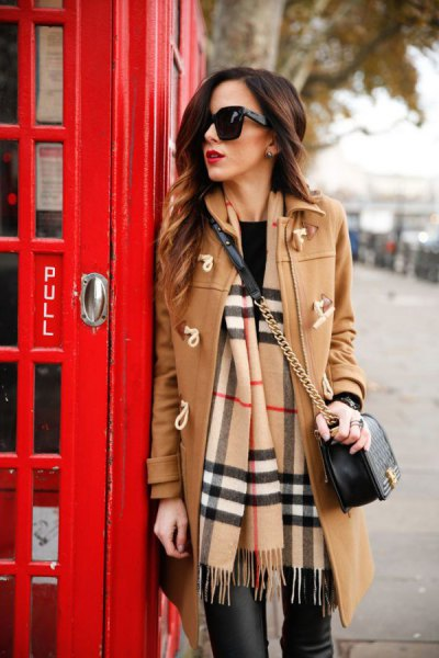 Camel long wool coat with black leather pants