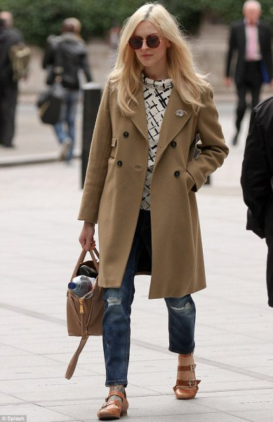 Camel long wool coat with torn boyfriend jeans and light brown evening shoes with rounded toes