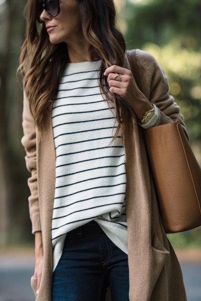 Camel longline cardigan with a black and white striped tunic top