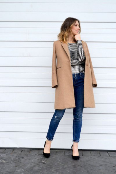 Camel longline wool coat with black and white striped long-sleeved T-shirt