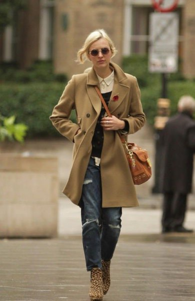 Boyel jeans with a camel wool coat