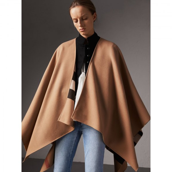 Camel wool poncho black shirt with buttons