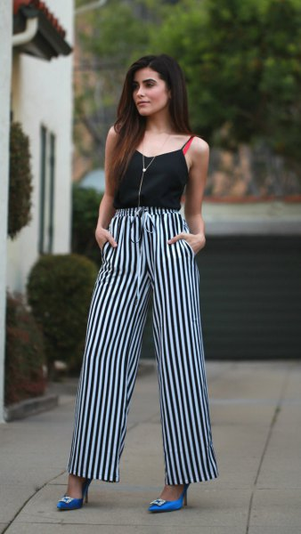 Camisole with black and white striped pants with a high waist