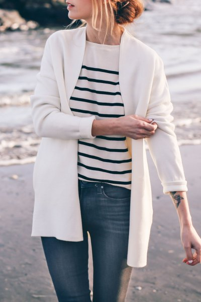 Cardigan with white and black striped knitted sweater