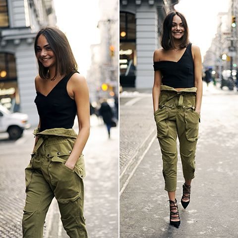 Cargo pants one shoulder Top Lady