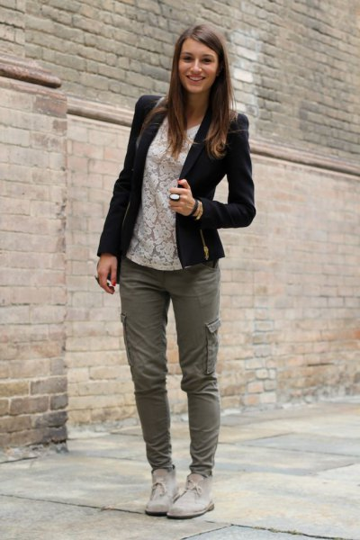 Cargo Pants White Pointed Top Chukka Boots