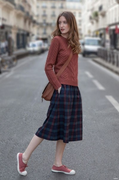 casual cable knit skirt