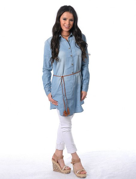 Chambray tunic dress with belt white jeans