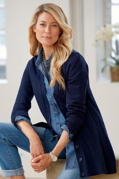 Chambray button-up shirt with longline cardigan