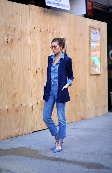 Chambray button up shirt with mom jeans and sky blue gladiator flat denim shoes