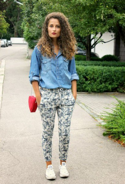 Chambray button-up shirt with white floral trousers