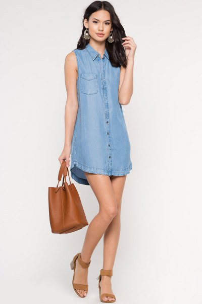 Chambray dress with a brown ankle strap and open toe heels