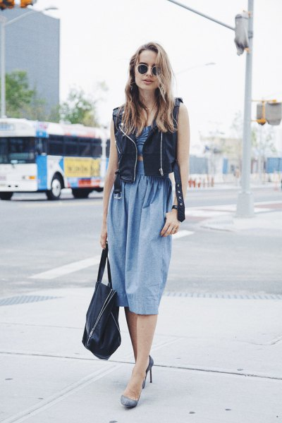 Chambray ruched waist relaxed sitting midi dress