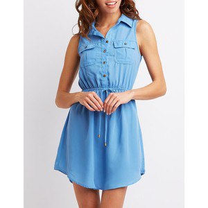 Chambray ruched waist sleeveless mini shirt dress