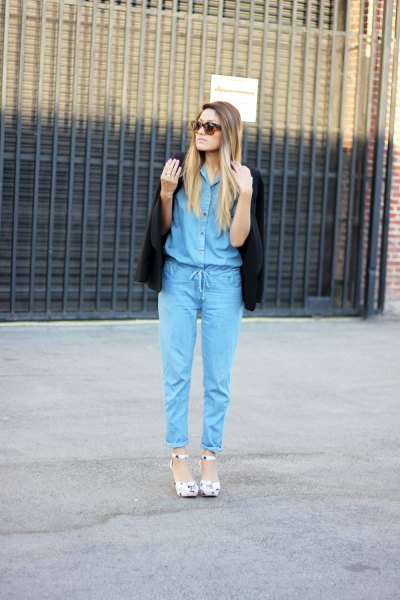 Chambray jumpsuit black blazer outfit