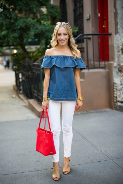 Chambray off shoulder ruffle top